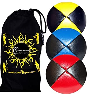 3x Pro Juggling Balls - Deluxe (LEATHER) Professional Juggling Balls Set of 3 +Fabric Travel Bag....