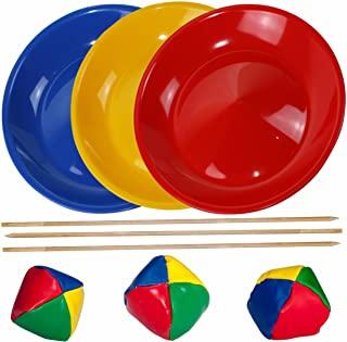 SchwabMarken 3 Platos de Malabares en Azul, Amarillo y Rojo, 3 Bastones para Nuestros Platos de M...